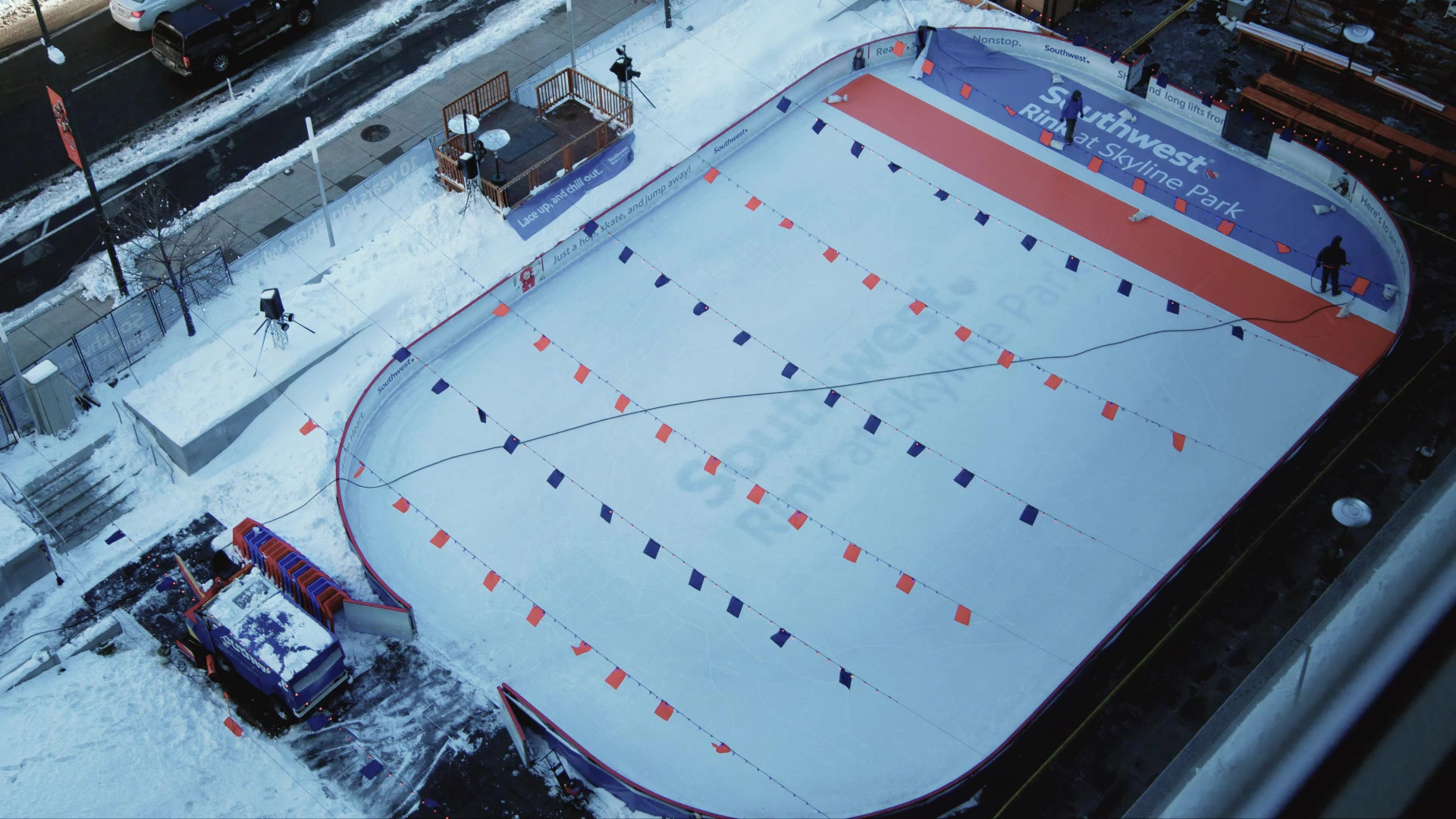 The Southwest Rink at Skyline Park Turns Orange and Blue for the Big Game